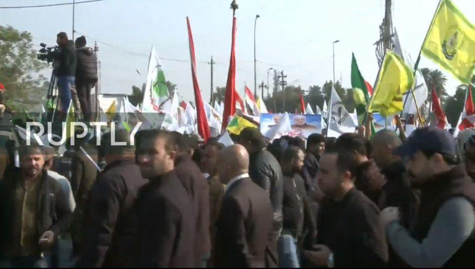 Ιράκ: Χιλιάδες στους δρόμους για την κηδεία Σουλεϊμανί - Ζωντανή εικόνα (vid)