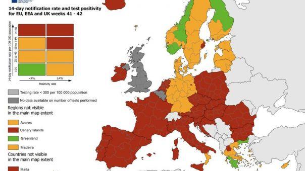 Ο χάρτης του ECDC για τον κορωνοϊό στην Ευρώπη - Πώς τα πάει η Ελλάδα