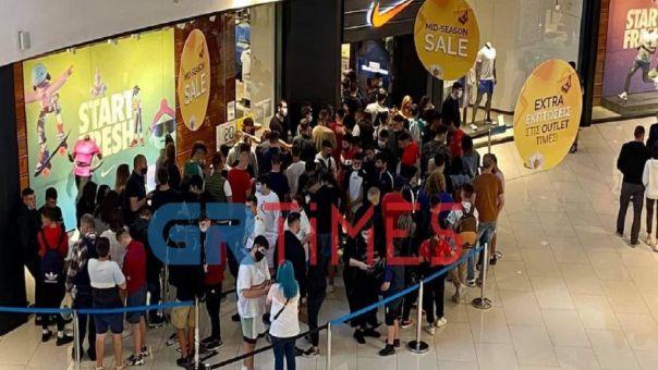 Θεσσαλονίκη: Απίστευτος συνωστισμός σε mall (φώτο-Vid)